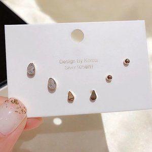 [3 Pairs] 925 Sterling Silver Diamond Earrings J